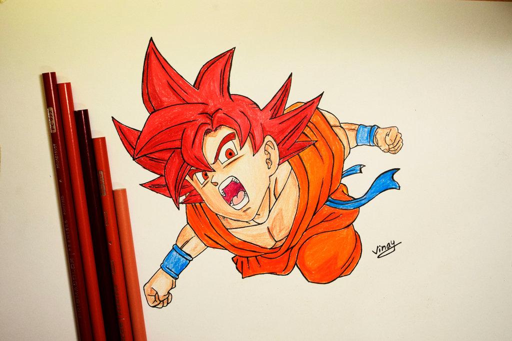 1024x683 Drawing Goku Super Saiyan God By Strangersknight