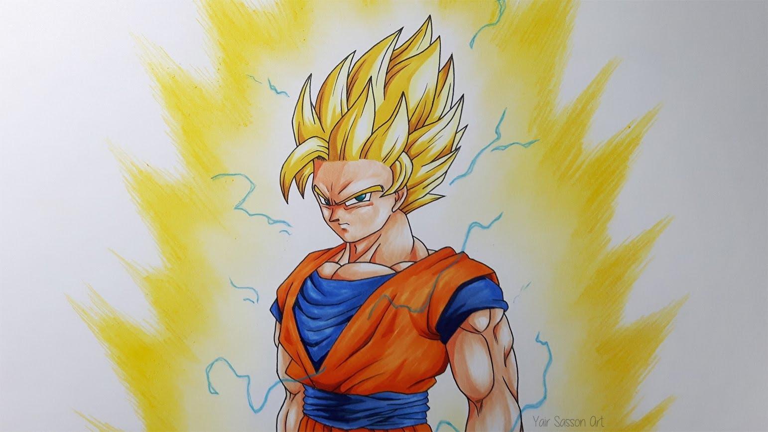 1542x867 Goku Super Saiyan Drawing Free