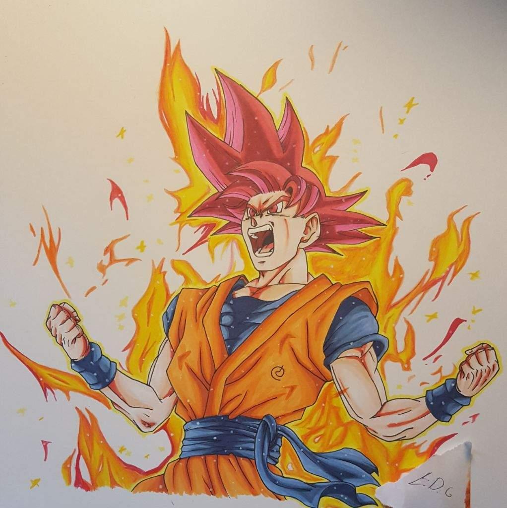 1022x1024 Super Saiyan God Goku Drawing (Tournament Entry) Dragonballz Amino