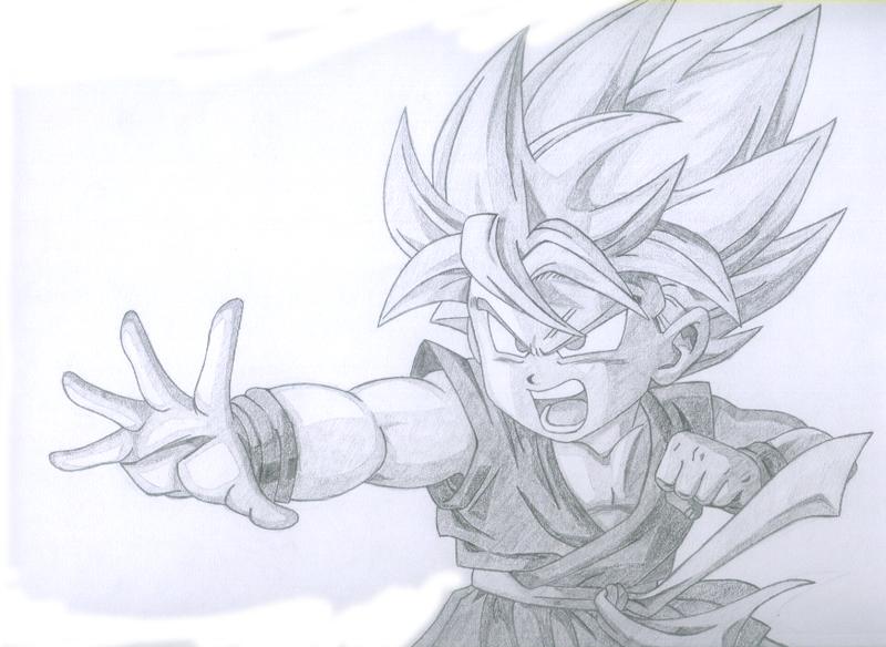 800x584 Kid Goku Ssj Draw By No0ir