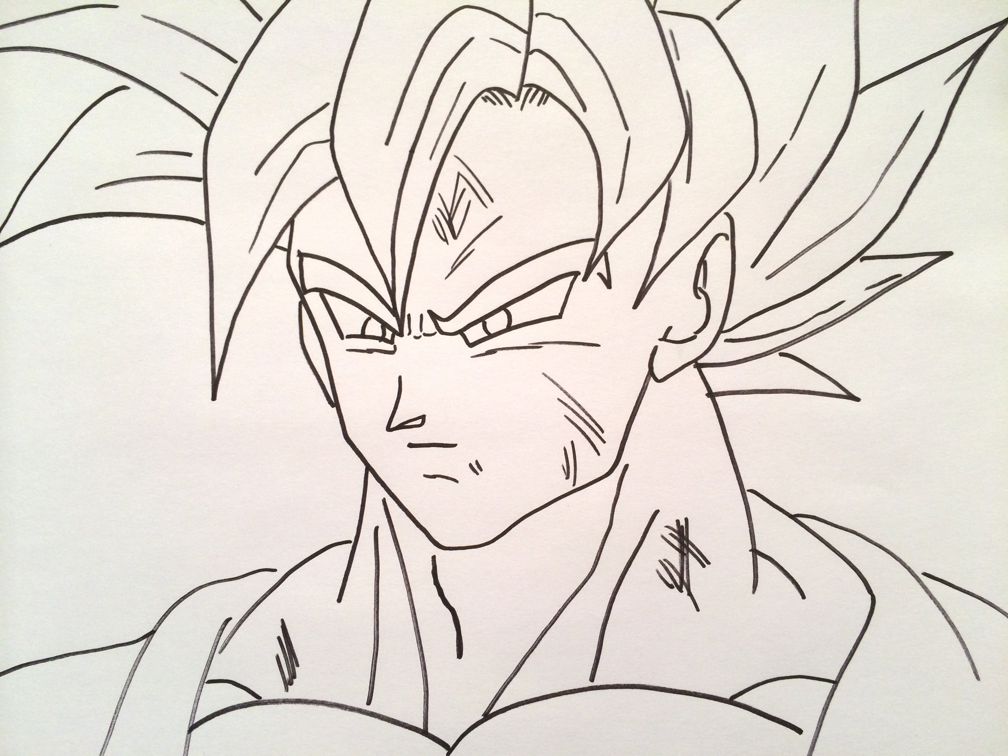 3264x2448 Goku Face Drawing Super Saiyan How To Draw Goku Super Saiyan