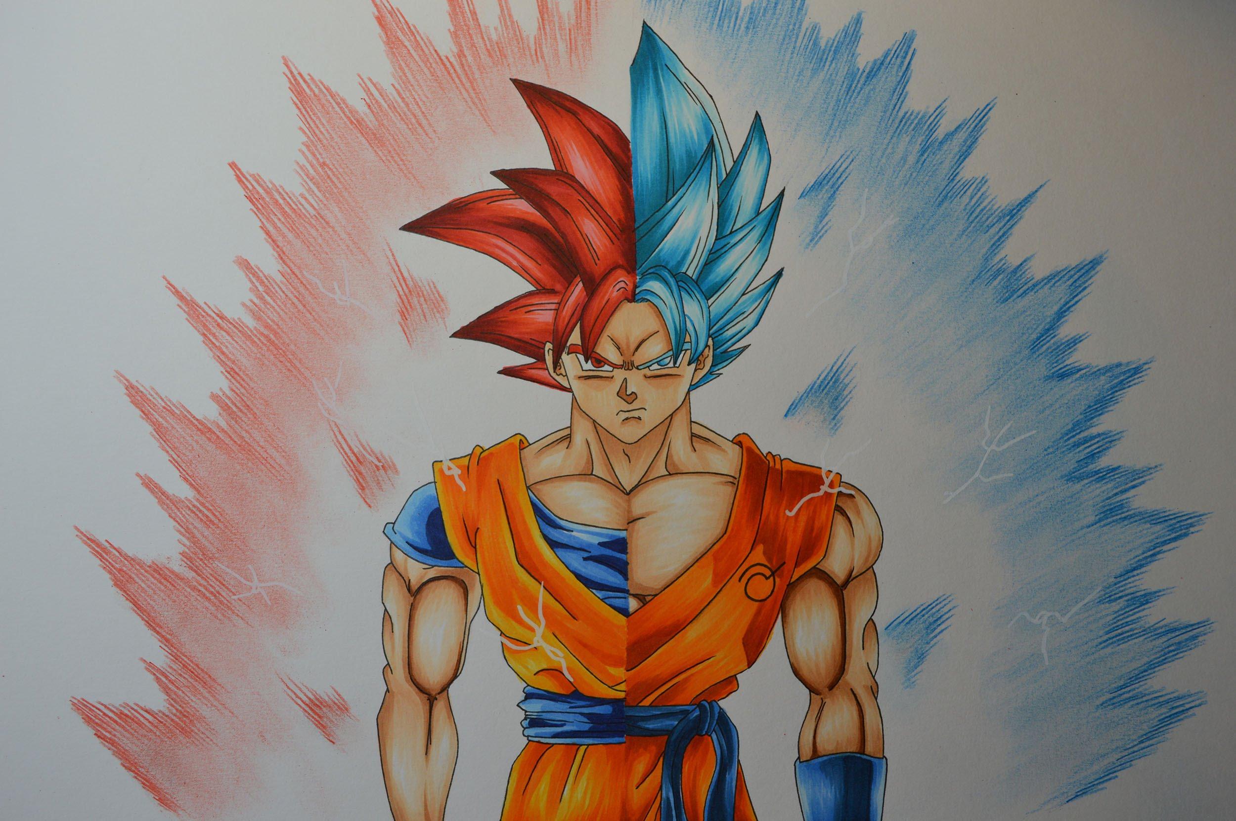 2500x1662 Drawing Goku Ssj God
