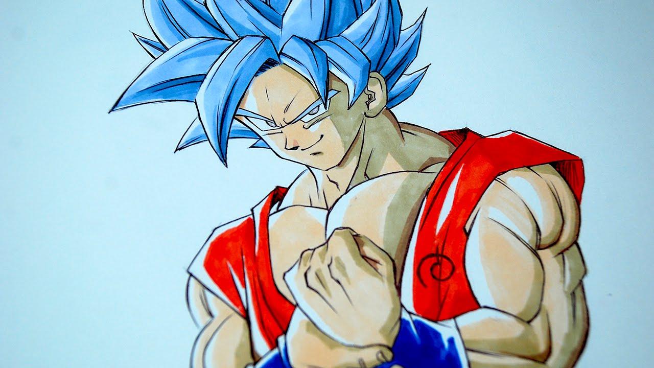 1280x720 Goku Super Saiyan God Blue Drawing Drawing Goku Ssgss Super