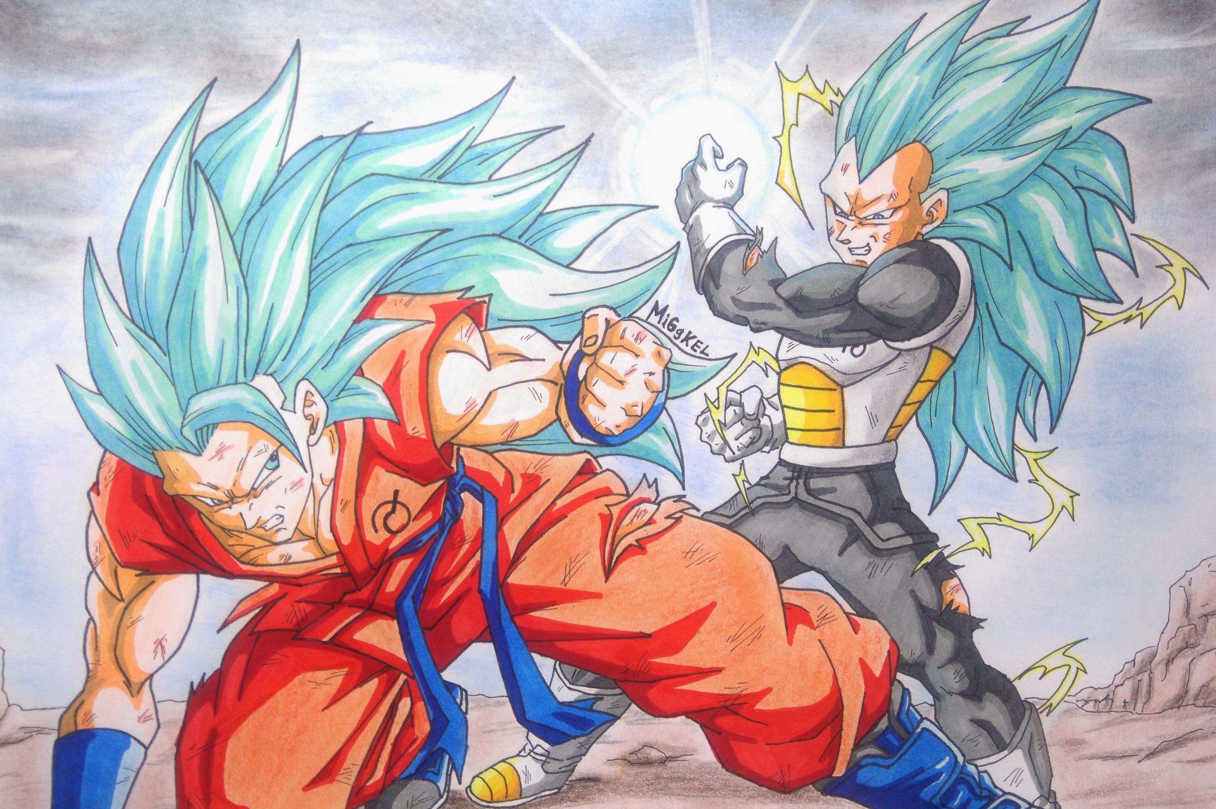 3869x2575 Como Dibujar A Goku Vs Vegeta Ssj God Ssj Fase 3. How To Draw Goku