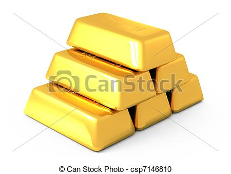 450x338 3d Gold Bars And Coins On White Stock Illustration