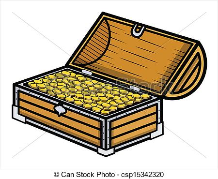 450x370 Ancient Gold Coin Filled Box Vector. Drawing Art Of Cartoon