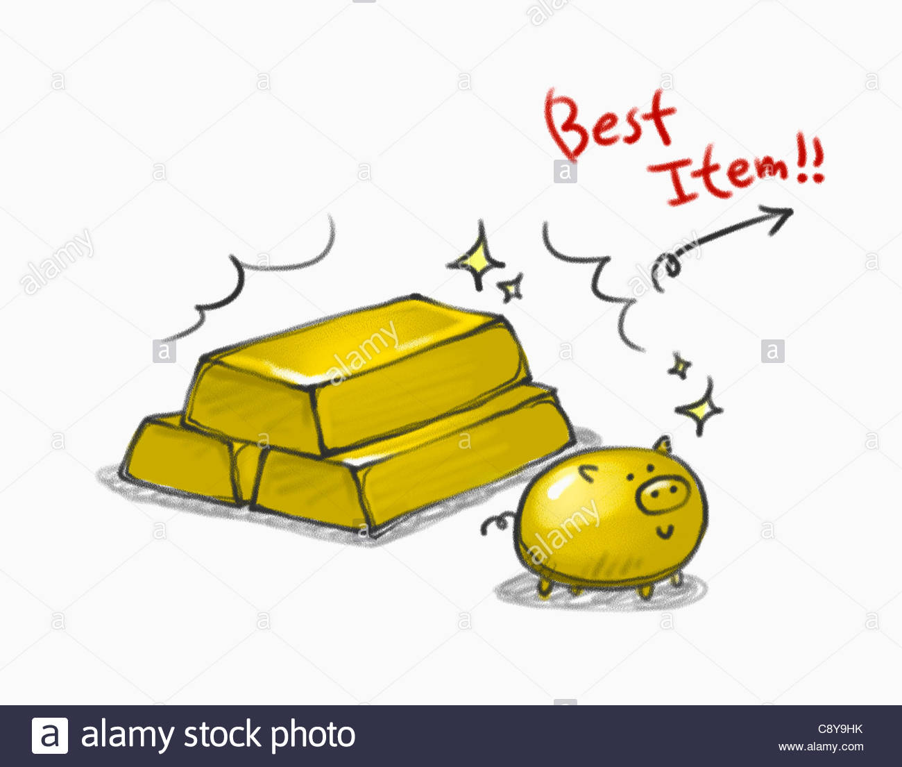 1300x1105 Drawing Of Gold Blocks And A Gold Pig Stock Photo 39938239