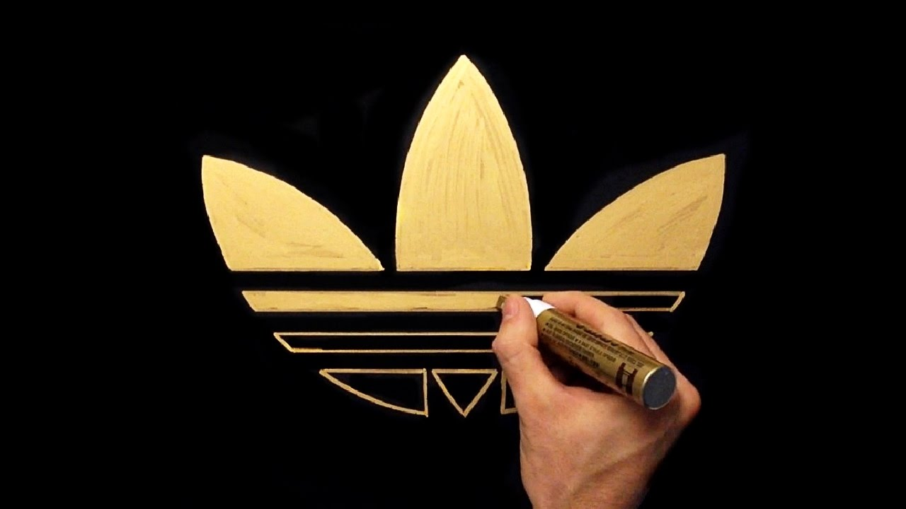 1280x720 How To Draw Adidas Gold Logo Gold Drawing With Gold Marker