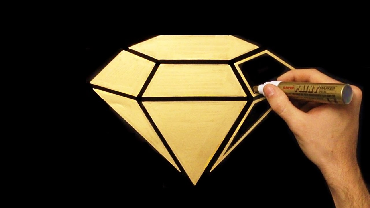 1280x720 How To Draw Gold Diamond Easy Drawing Draw With Denis