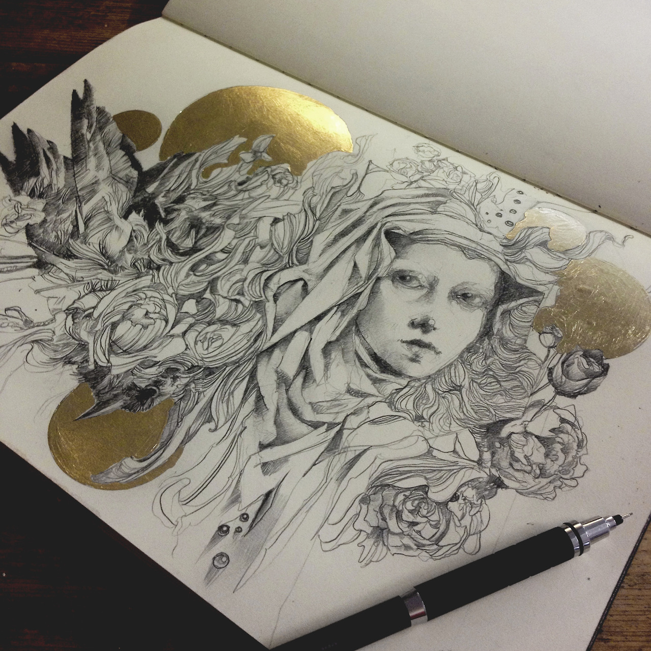 1280x1280 Craww Graphite And Gold Leaf In My Moleskine. Having A Lot Of Fun