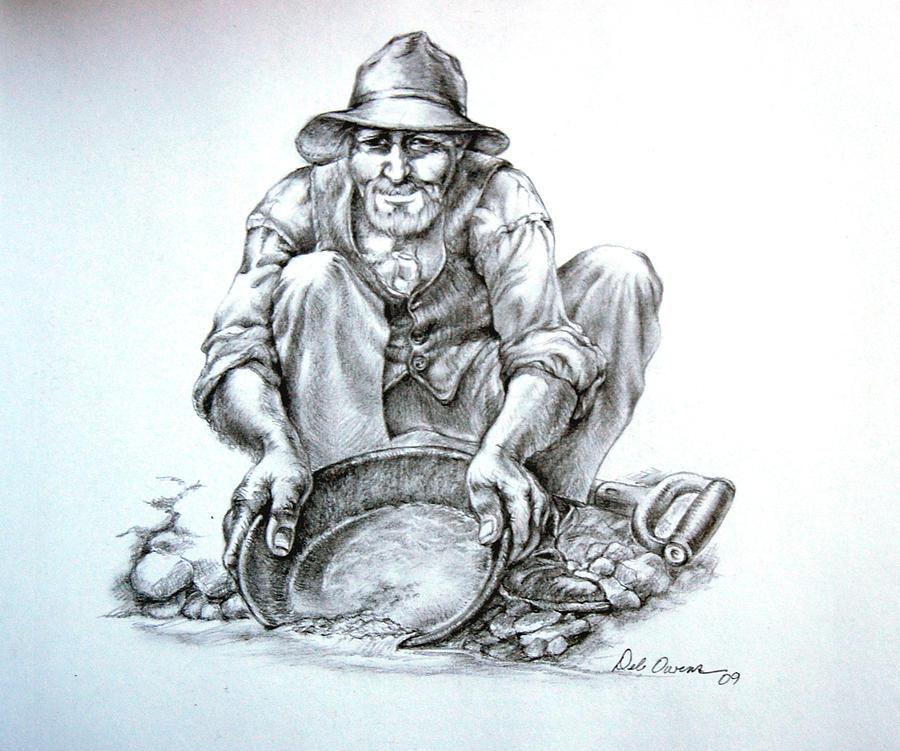 900x751 Goldminer Drawing By Deb Owens Lowe