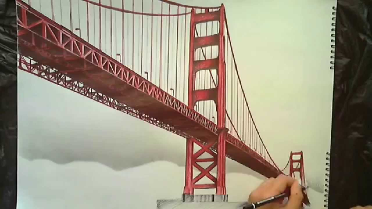 1280x720 Drawing Golden Gate Bridge