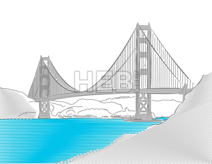 900x696 Golden Gate Bridge, San Francisco, Colored Sketch Hebstreits
