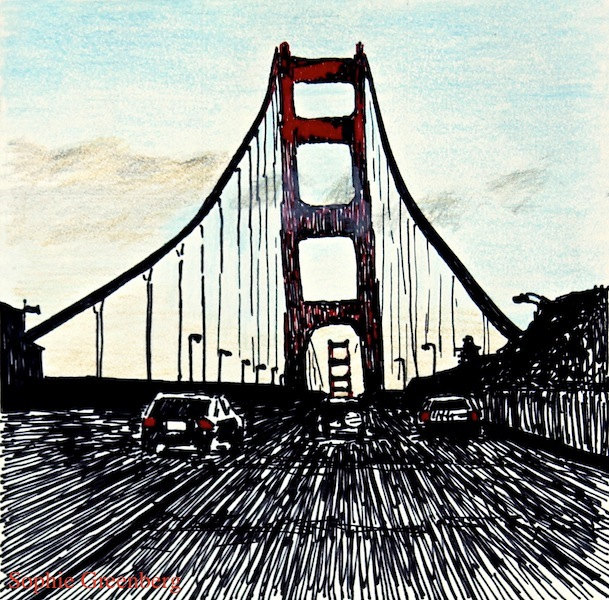 609x600 Poster Print Of Ink And Colored Pencil Drawing Golden Gate Bridge
