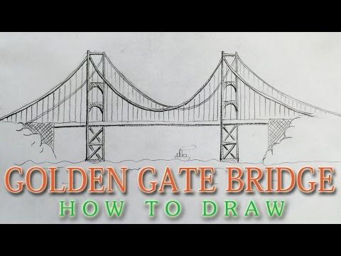 480x360 How To Draw The Golden Gate Bridge Easy