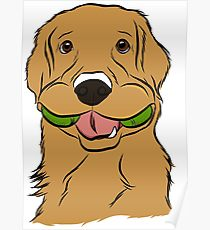 210x230 Golden Retriever Cartoon Drawing Posters Redbubble