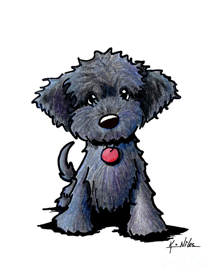 707x900 Black Doodle Puppy Drawing By Kim Niles