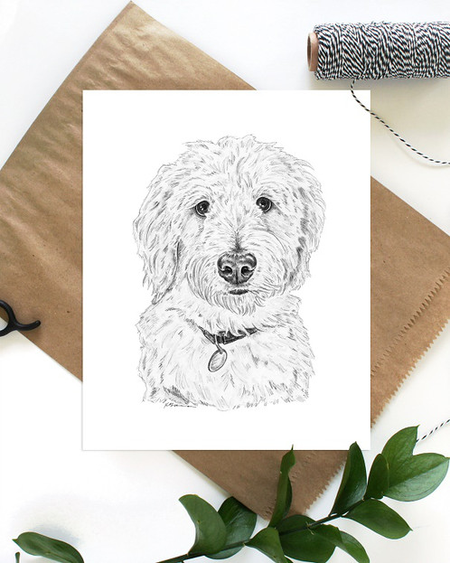 498x623 Goldendoodle No. 2 Art Print Home Animal Art Prints + Framed