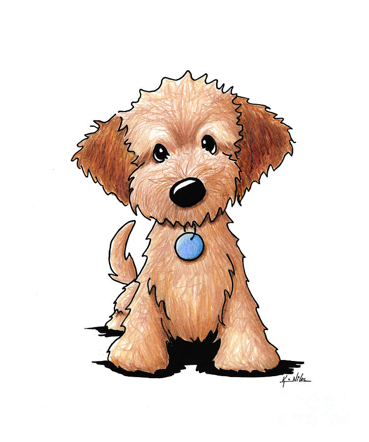 750x900 Goldendoodle Puppy Drawing By Kim Niles