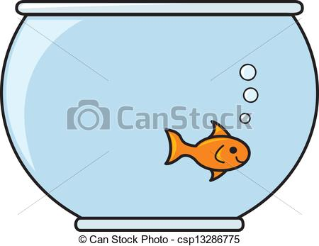 450x347 A Single Smiling Goldfish In A Bowl Full Of Water. Vectors
