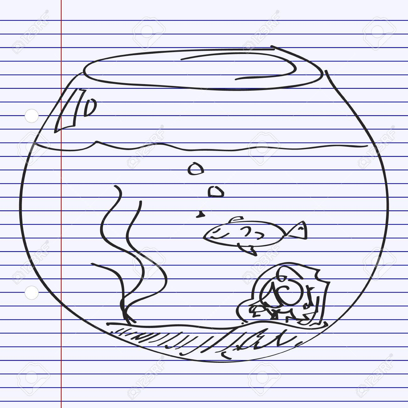 1300x1300 Simple Hand Drawn Doodle Of A Goldfish Bowl Royalty Free Cliparts