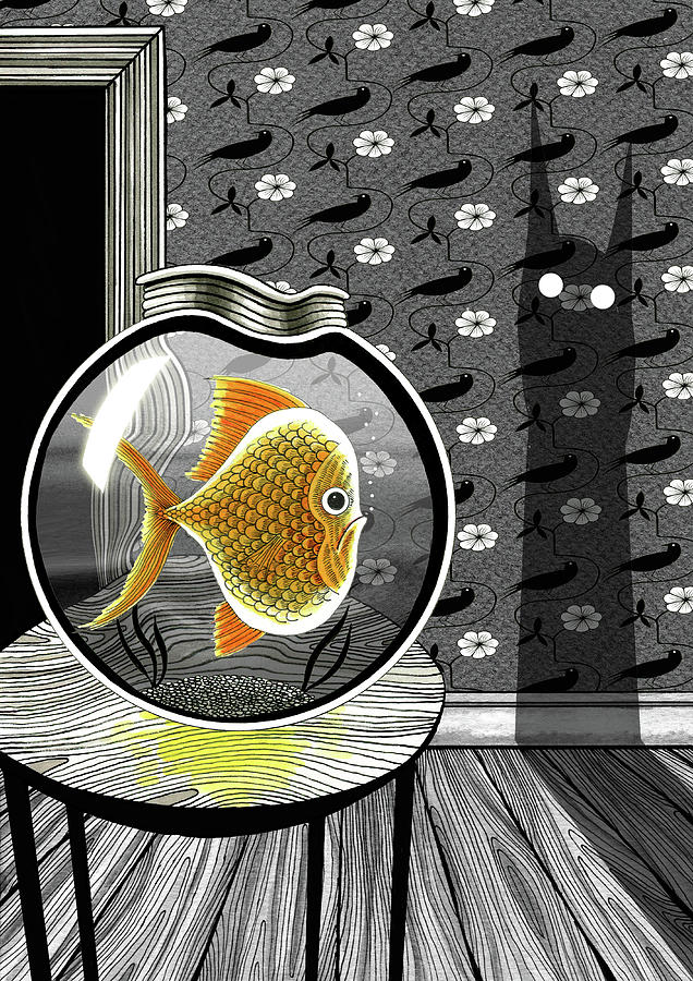636x900 The Haunted Goldfish Bowl Drawing By Andrew Hitchen