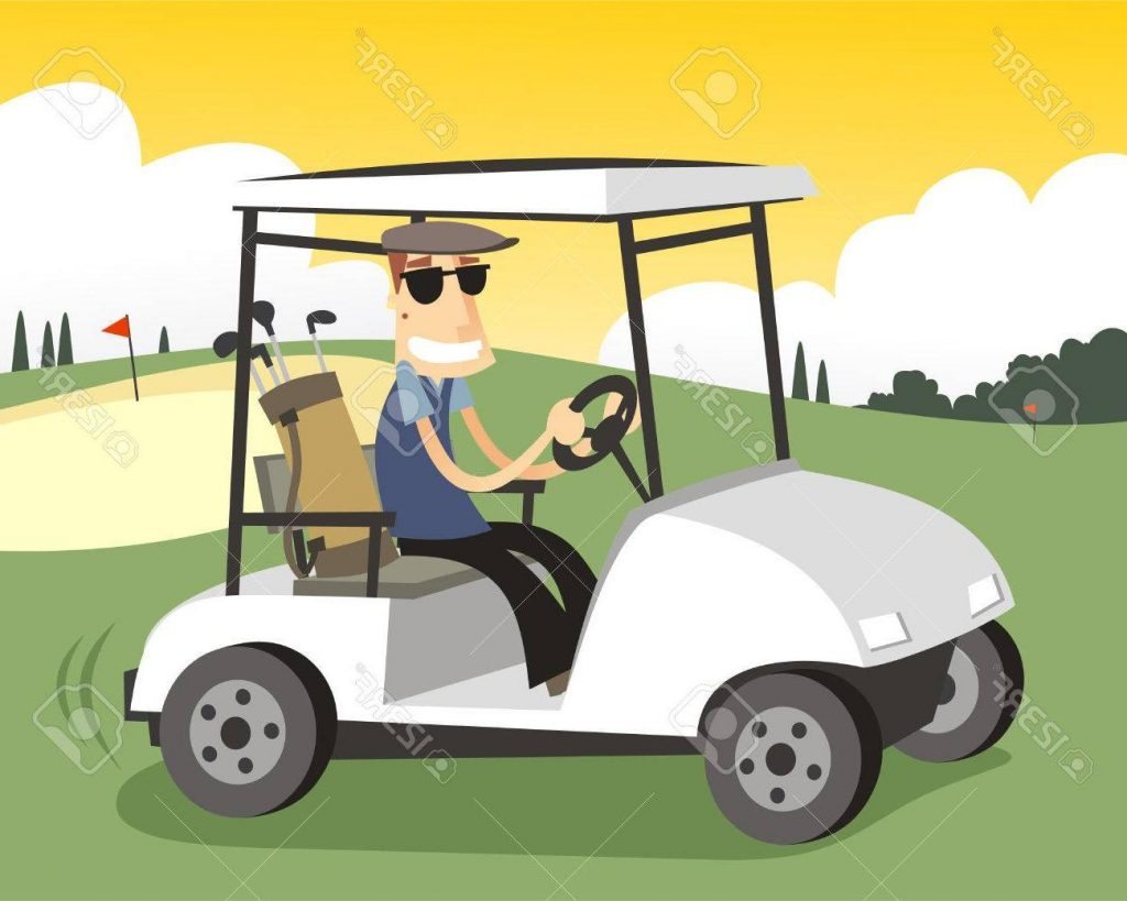 1024x819 Hd Golfer Driving Golf Cart In Sunny Day Stock Vector Cartoon