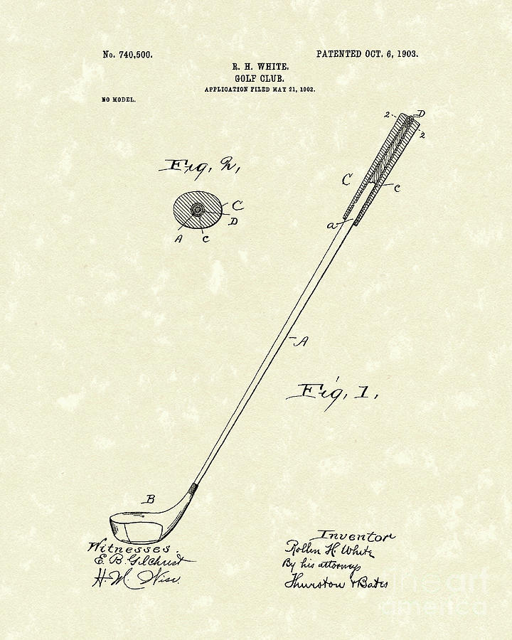 720x900 Golf Club 1903 Patent Art Drawing By Prior Art Design