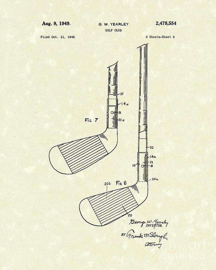720x900 Golf Club 1949 Patent Art Drawing By Prior Art Design