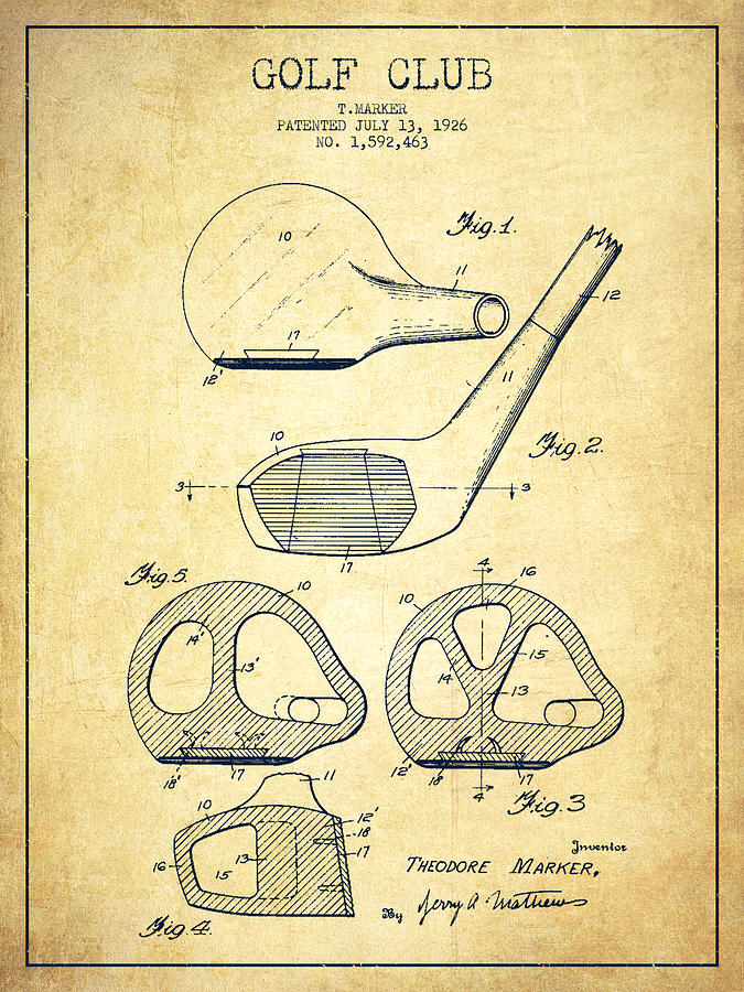675x900 Golf Club Patent Drawing From 1926