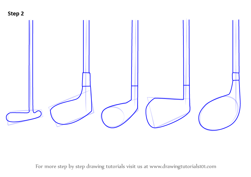 843x596 Learn How To Draw Golf Clubs (Golf) Step By Step Drawing Tutorials