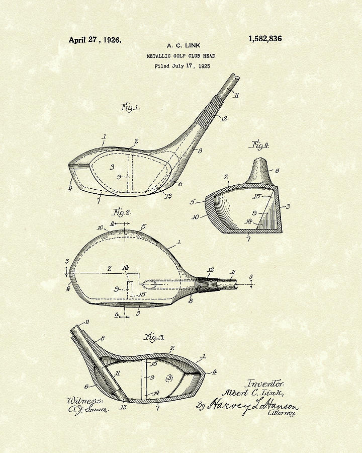 720x900 Metallic Golf Club Head 1926 Patent Art Drawing By Prior Art Design