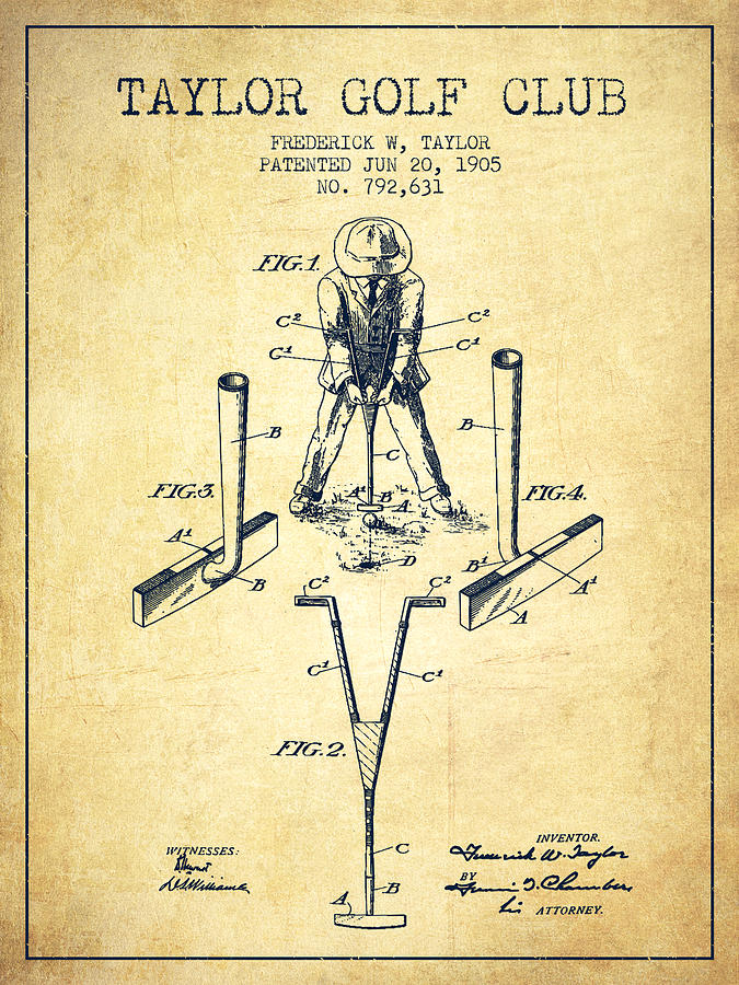 675x900 Taylor Golf Club Patent Drawing From 1905