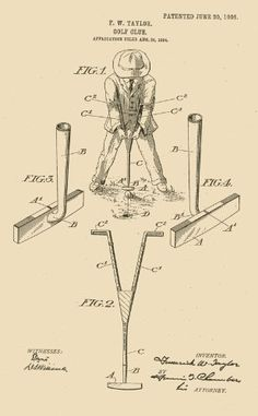 236x381 Golf Club Patent Drawing From 1910