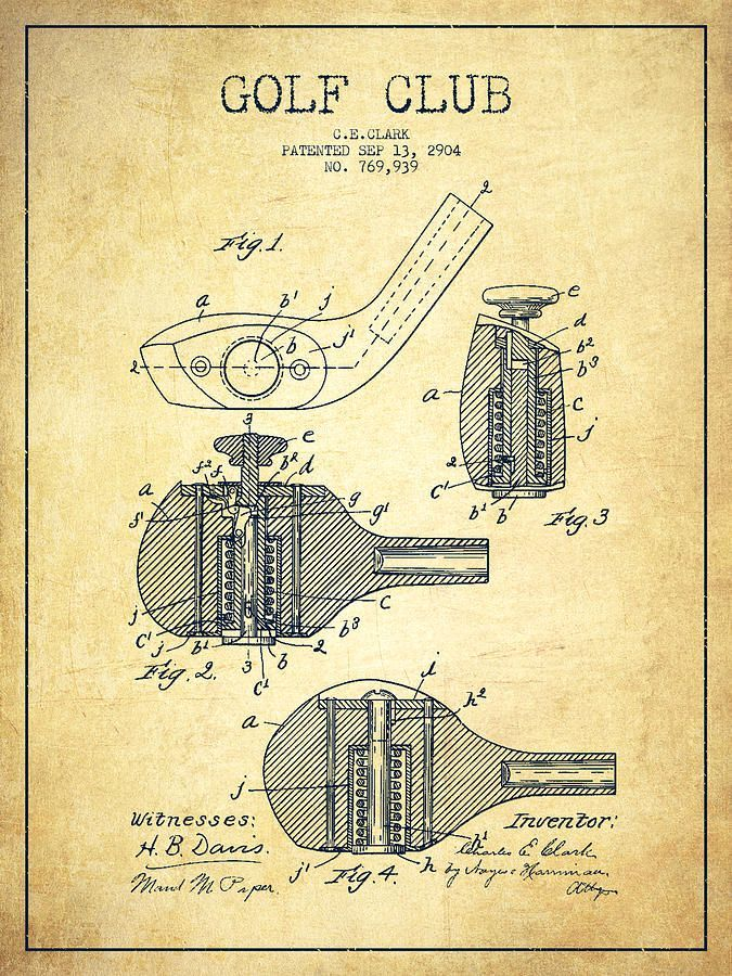 675x900 Golf Clubs Patent Drawing From 1904
