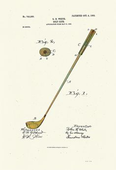 236x346 Taylor Golf Club Patent Drawing From 1905