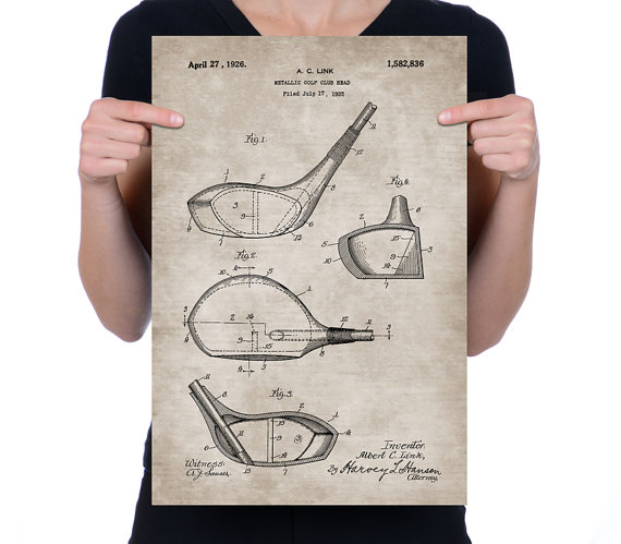 570x499 Vintage 1925 Golf Club Head Patent Drawing, Retro Art Print