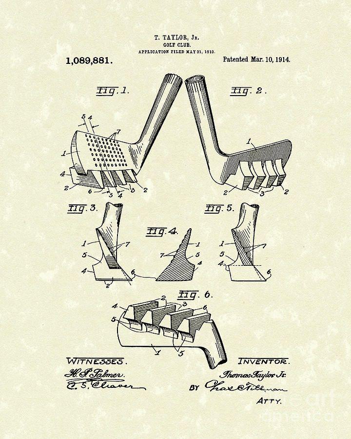 720x900 Golf Club 1914 Patent Art Prior Art Design.jpg Vintage