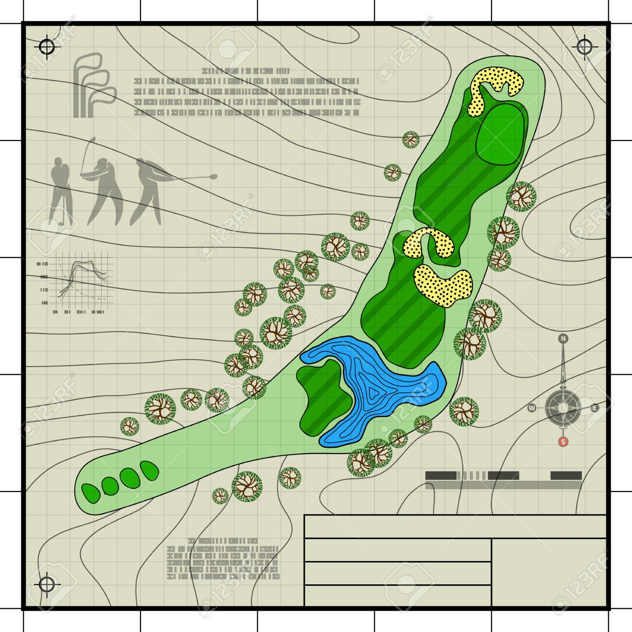 1300x1300 Golf Course Layout. Abstract Design Stylized Blueprint Technical