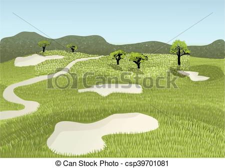 450x337 Golf Course. Golf Place With Gorgeous Green And Sand Bunker