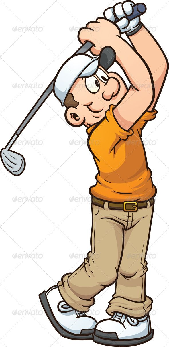 590x1212 Cartoon Golfer Template, Decorative Paintings And Golf Cards