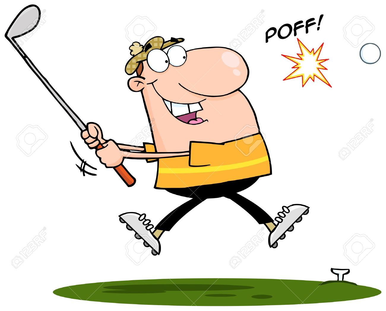 1300x1049 Happy Golfer Hitting Golf Ball Royalty Free Cliparts, Vectors,