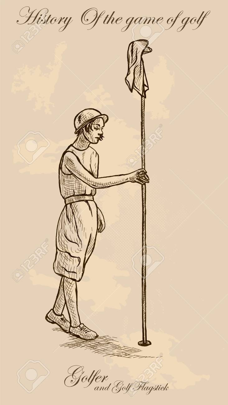 732x1300 Vintage Golfer, An Woman. Freehand Drawing, Vector. Vector Is