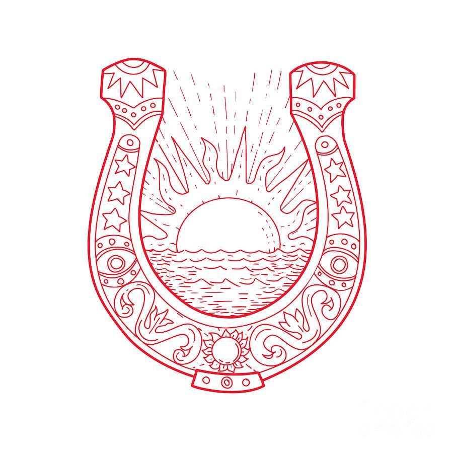 900x900 Good Luck Horseshoe Sun Sea Drawing Digital Art By Aloysius Patrimonio