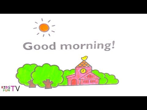 480x360 Coloring Pages How To Color Good Morning Drawing For Kids Fun