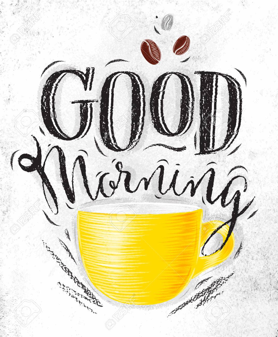 1074x1300 Poster With Yellow Cups Of Coffee Lettering Good Morning Drawing