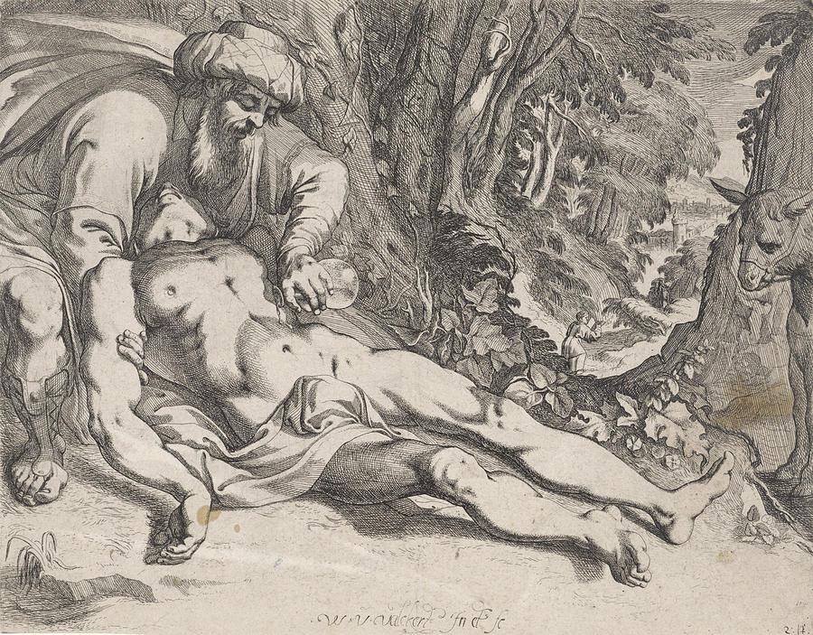 900x703 The Good Samaritan, Werner Van Den Valckert Drawing By Werner Van