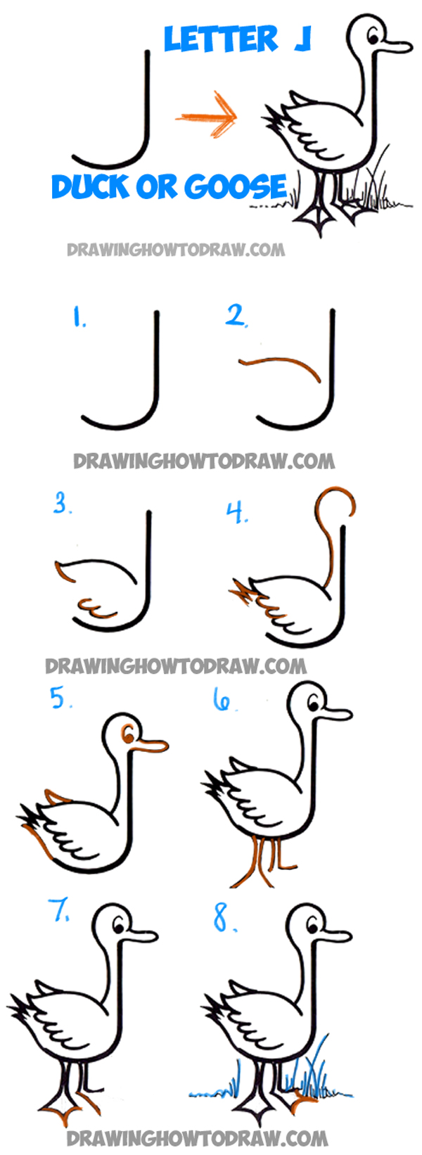 600x1642 How To Draw Cartoon Goose Or Duck From Letter J Shape