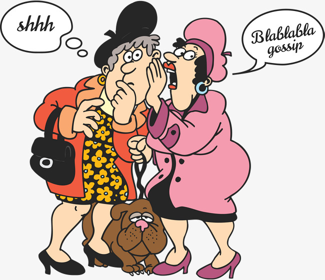 650x560 Middle Aged Women And Pet Dogs, Cartoon Hand Drawing, Gossip
