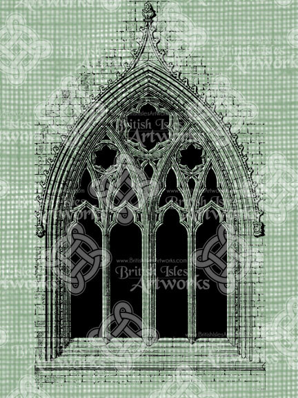 432x576 Digital Download Cathedral Window With Gothic Tracery Antique